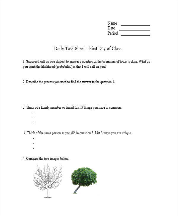 Daily Task Sheet | Blank.csat.co