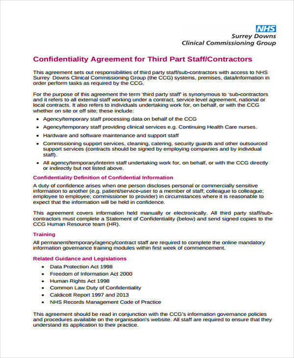 9+ Staff Confidentiality Agreements \u2013 Free Downloadable Samples
