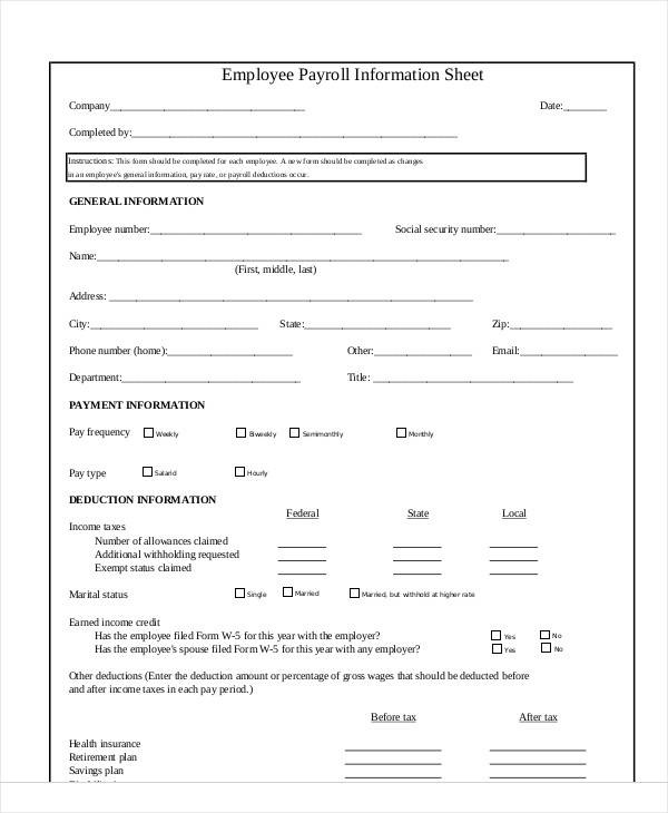 employee information sheet template - Baskanidai - Sample Information Sheet Templates