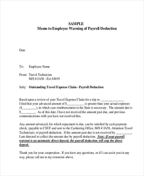 9+ Employee Memo Template \u2013 Examples in Word, PDF Sample Templates - Sample Memos For Employees