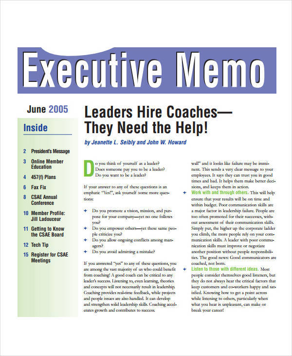 Executive Memo Template - 10+ Examples in Word, PDF, Google Docs