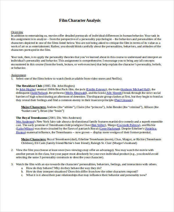 7+ Character Analysis \u2013 Examples in Word, PDF Sample Templates