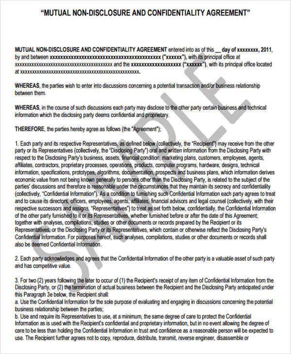 9+ Financial Confidentiality Agreements \u2013 Free Sample, Example - financial confidentiality agreements