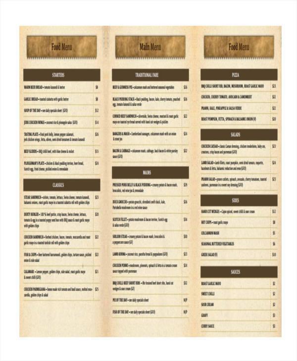 Menu List Samples - 9+ Examples in Word, PDF - menu list sample