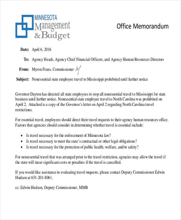 7+ Formal Memo \u2013 Free Sample, Example, Format Download Sample - office memos examples