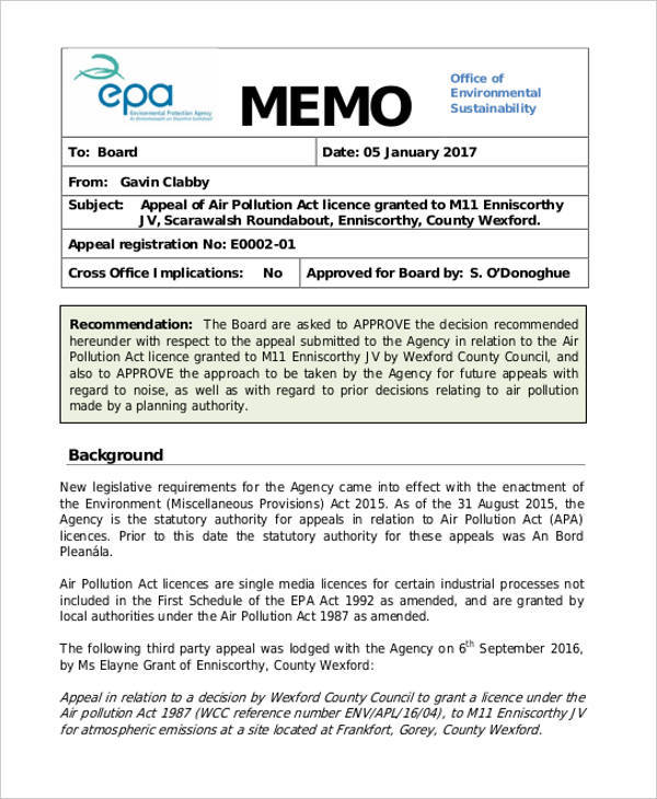 Sample Executive Memo Template  EnvResumeCloud