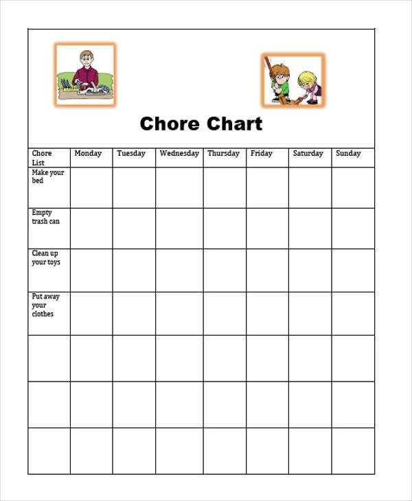 9+ Sample Chore Charts \u2013 Free Sample, Example, Format Download - sample chore chart