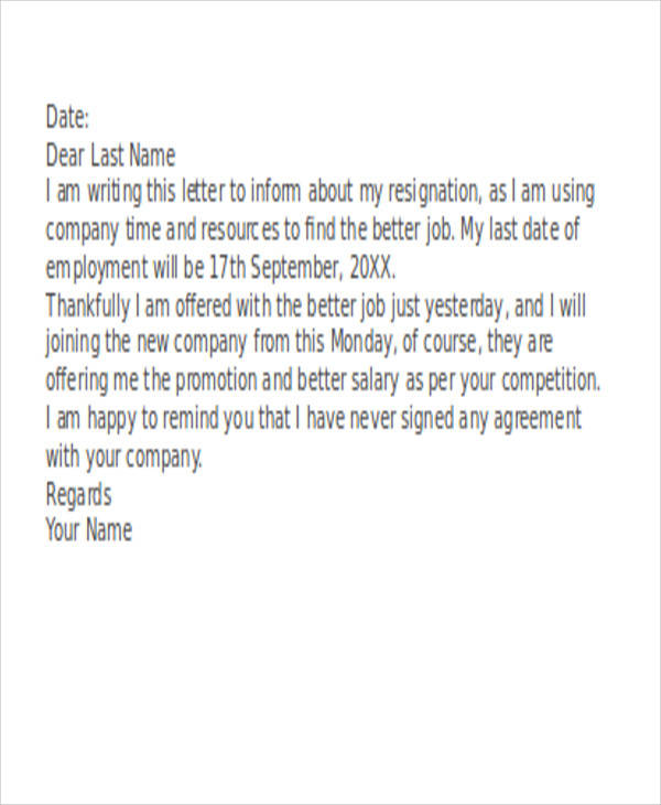 Sample Funny Resignation Letter - 6+ Examples in PDF, Word