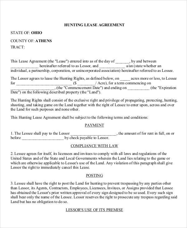 Hunting Lease Agreement Hunting Liability Waiver Own Or Lease Cost