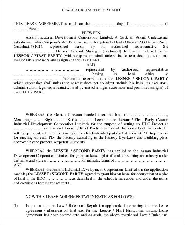 Printable Sample Lease Rental Agreement Form Real Estate - lease agreement