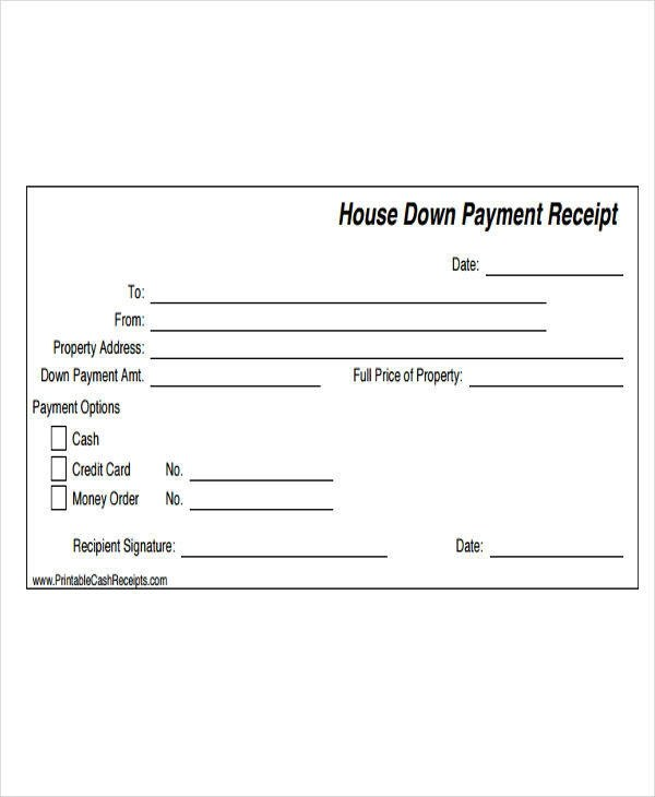 20+ Payment Receipt Templates Sample Templates - down payment receipt