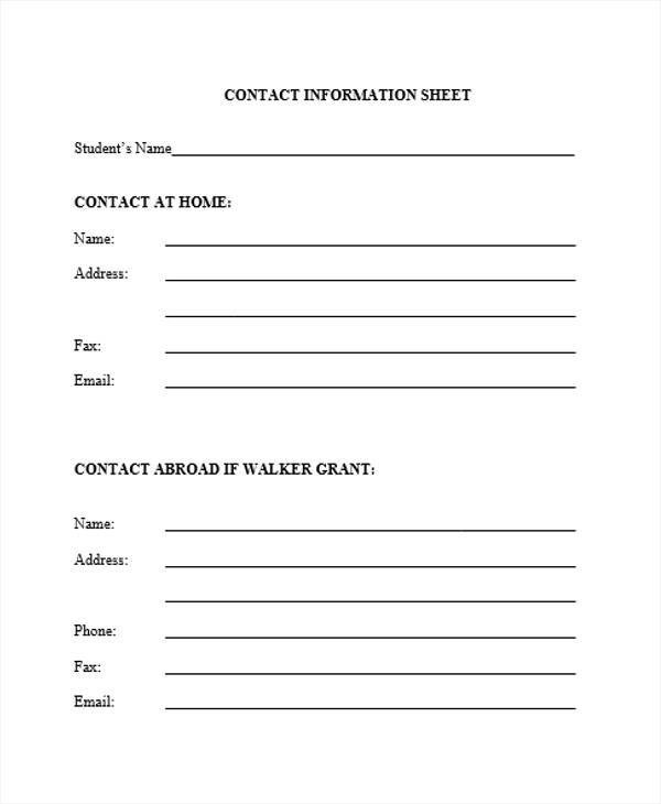 10 Information Sheet Templates \u2013 Examples in Word, PDF Sample