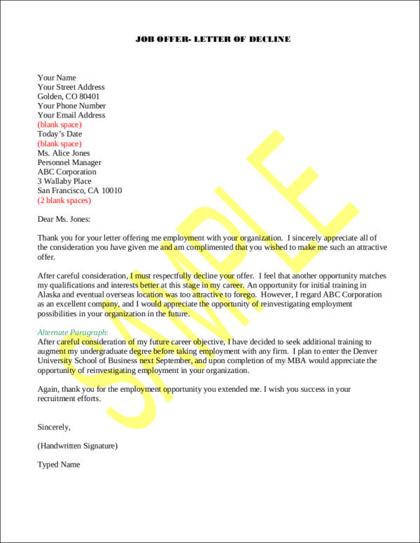 How to Politely Turn Down a Job Offer Sample Templates - decline offer letter