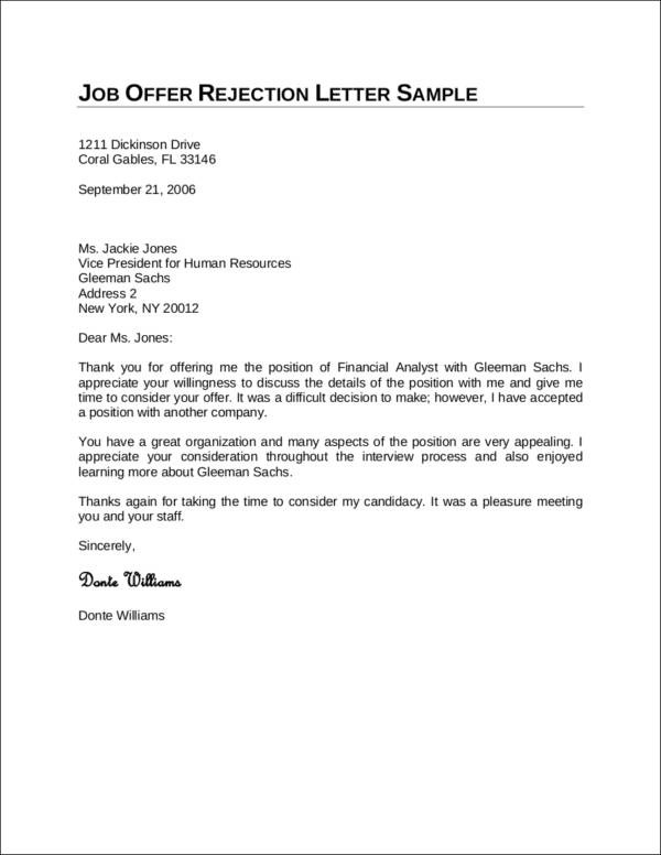 How to Politely Turn Down a Job Offer Sample Templates - letter to decline a job offer