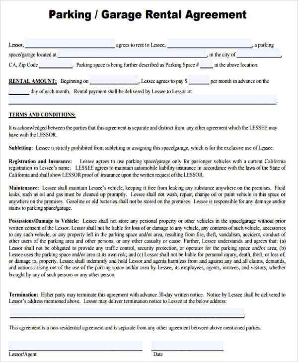 Rental Agreement Template Garage Best Resumes Curiculum Vitae - parking agreement template
