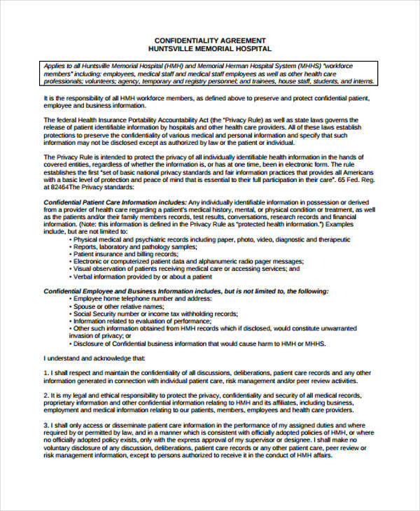 11+ Medical Confidentiality Agreement - Free Word, PDF Format Download
