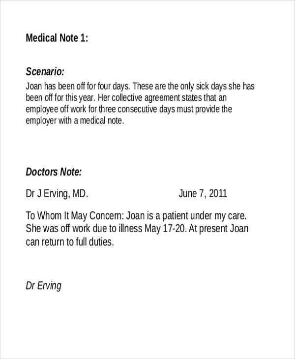 Medical Note Sample - 10 Examples in Word, PDF
