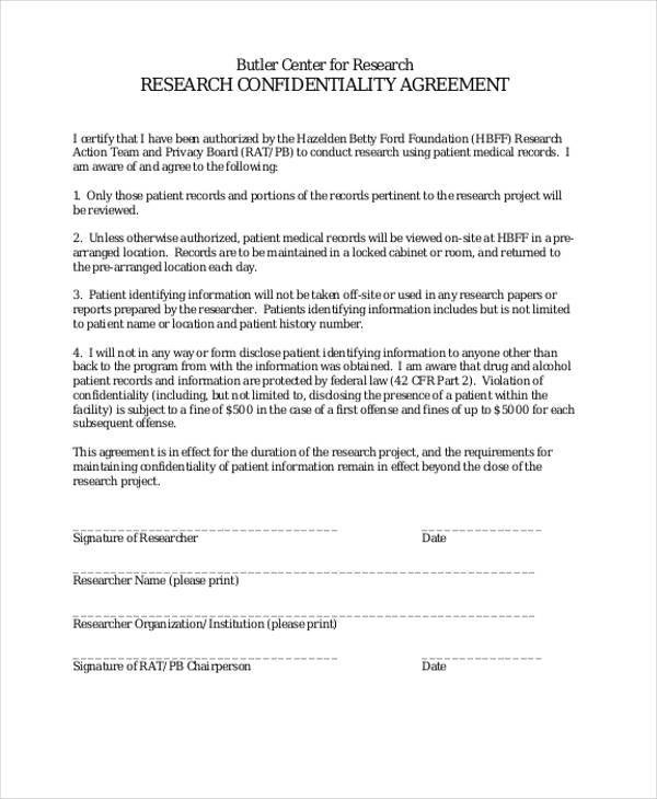 9+ Medical Confidentiality Agreements \u2013 Free Downloadable Samples