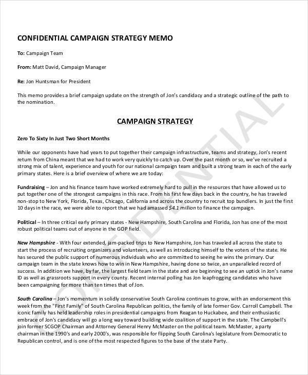 8+ Strategy Memo \u2013 Examples in Word, PDF Sample Templates - strategy memo