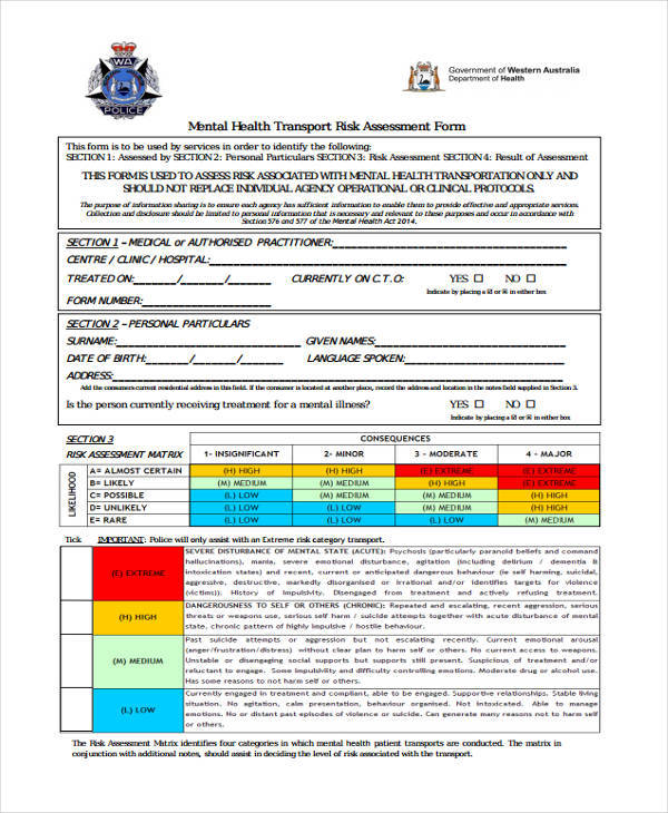 Health Risk Assessment Template sample assessment - 9+ free - health risk assessment template