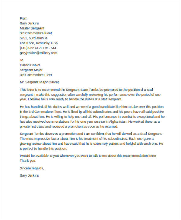 8 Sample Military Recommendation Letter Samples  Templates Sample