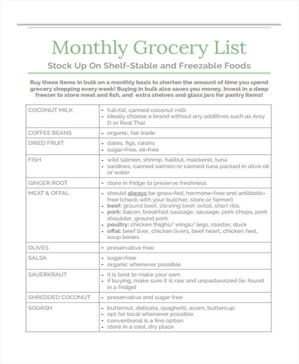 13+ Monthly List Sample - Free Sample, Example, Format Download - example grocery list