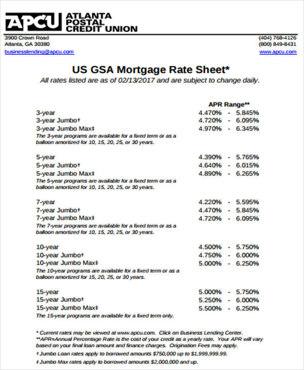 13 Rate Sheet Templates \u2013 Examples in PDF Sample Templates
