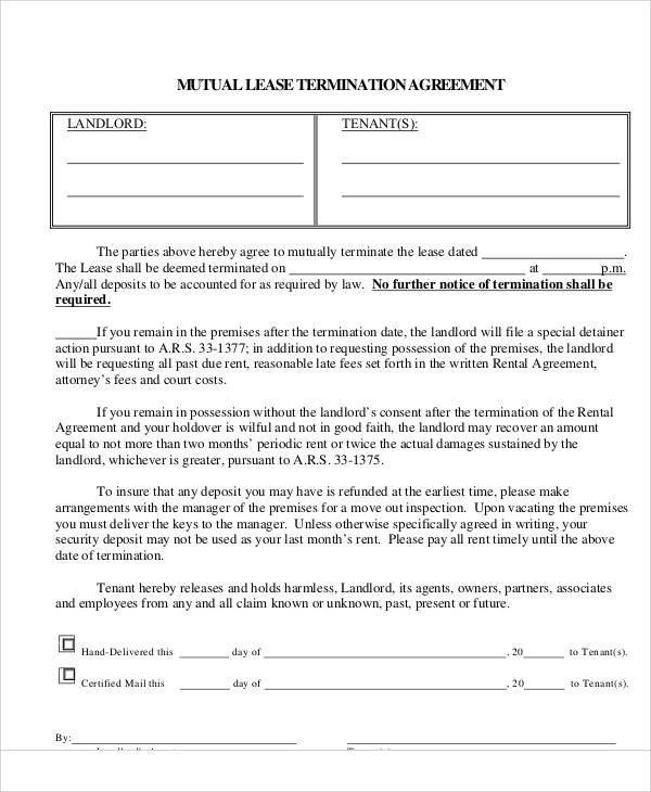 Mutual Lease Termination Agreement Gallery - Agreement Letter Format