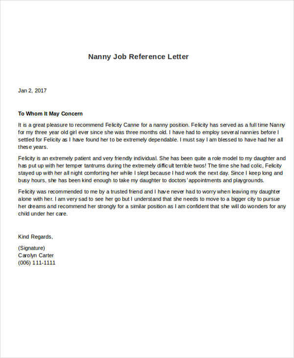 nanny reference letter