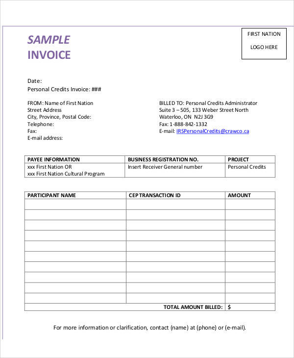 7+ Personal Invoice Samples \u2013 Examples in PDF, Word Sample Templates - sample invoice