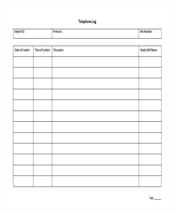 16+ Call Log Templates in PDF