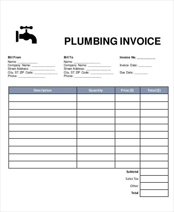plumbing invoice template - Towerssconstruction