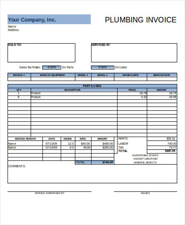 6+ Plumbing Invoice Samples \u2013 Examples in PDF, Excel Sample Templates - plumbing invoice sample