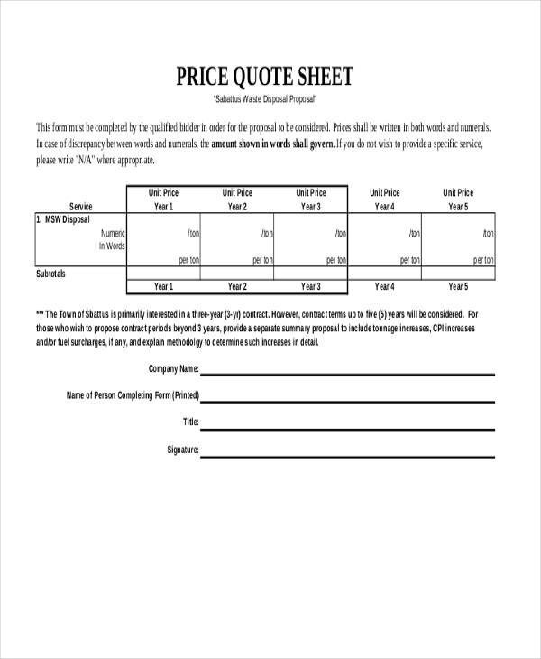 Sample Quote Sheets - quotation sample pdf