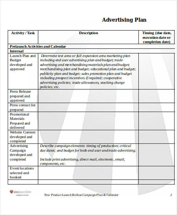 advertising plan template - Onwebioinnovate - advertising plan