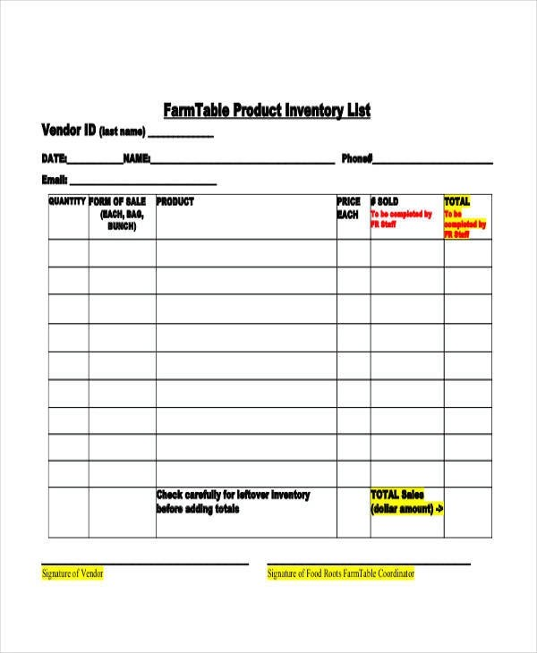 inventory list example 23 Inventory list example - getjobcsat - inventory list example
