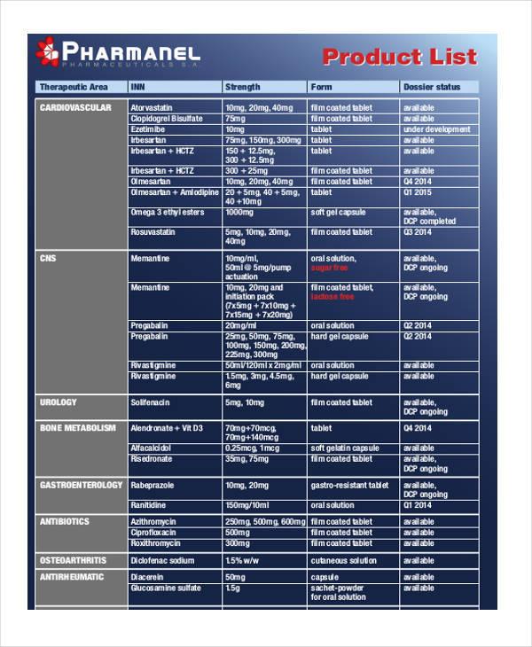 8+ Product List Samples  Templates - PDF, DOC