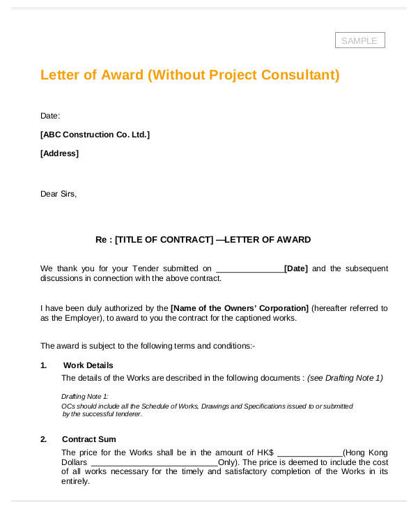 8+ Award Thank-You Letter Samples \u2013 Word, PDF Sample Templates - Award Thank You Letter