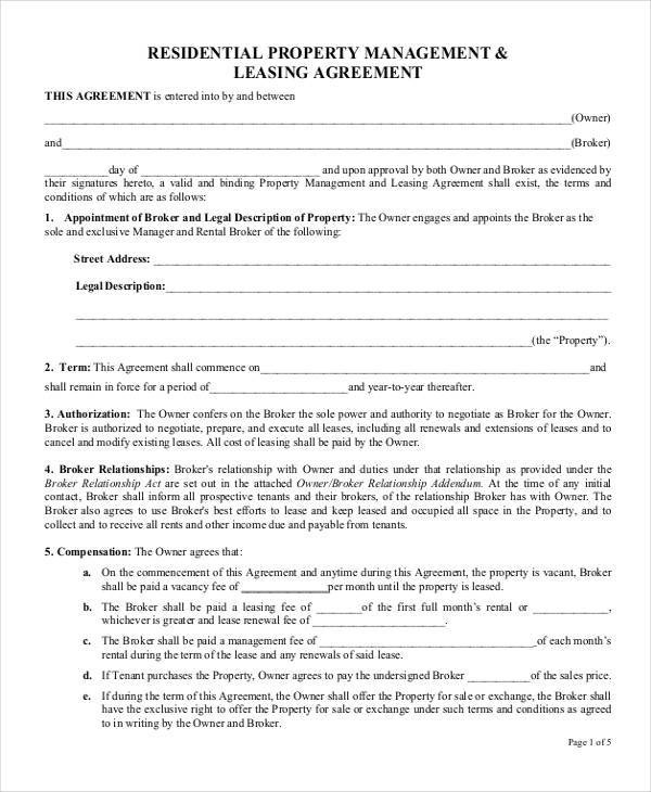 27 Lease Agreement Samples Sample Templates - property management agreements