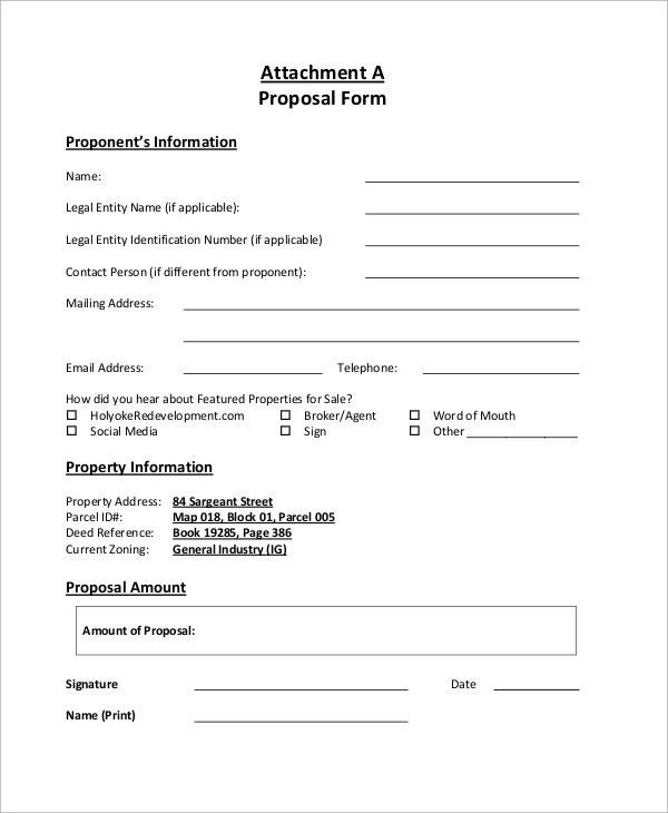 Fine Free Printable Proposal Forms Collection - Resume Ideas - free proposal forms