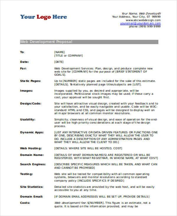 website development proposal sample - Canasbergdorfbib