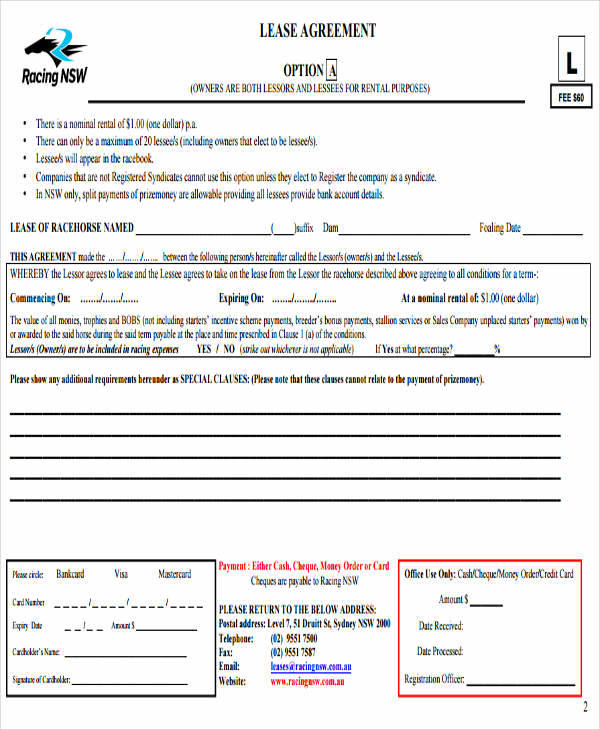 38+ Printable Lease Agreements - horse lease agreements