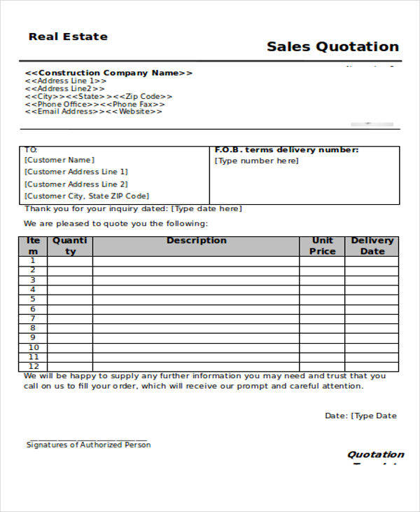7+ Real Estate Quotation \u2013 Examples in Word, PDF Sample Templates - real estate quotation