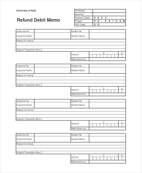Debit Memo Template - 10+ Examples in Word, PDF