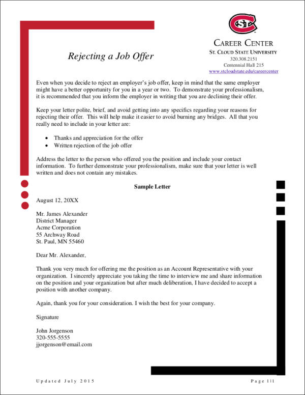 How to Politely Turn Down a Job Offer Sample Templates - politely turning down a job offer