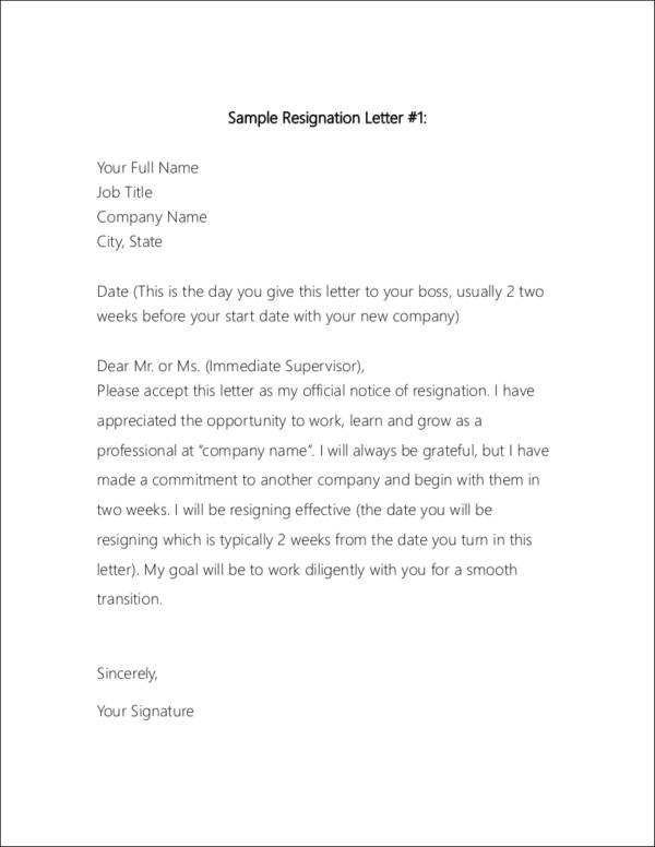 resign letter sample 74 two weeks - 2 Week Resignation Letter Template