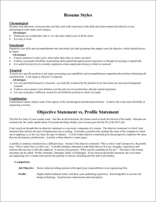 resume career objective vs summary