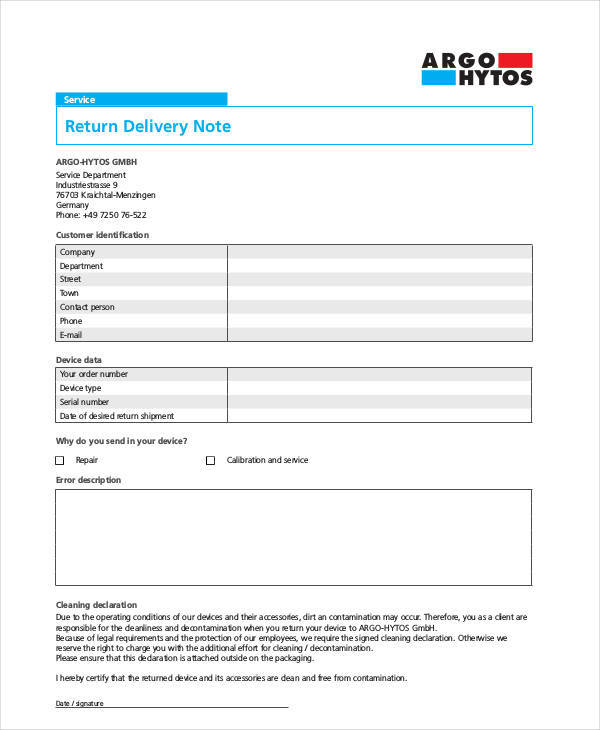 10 Delivery Note Templates \u2013 Examples in Word, PDF Sample Templates
