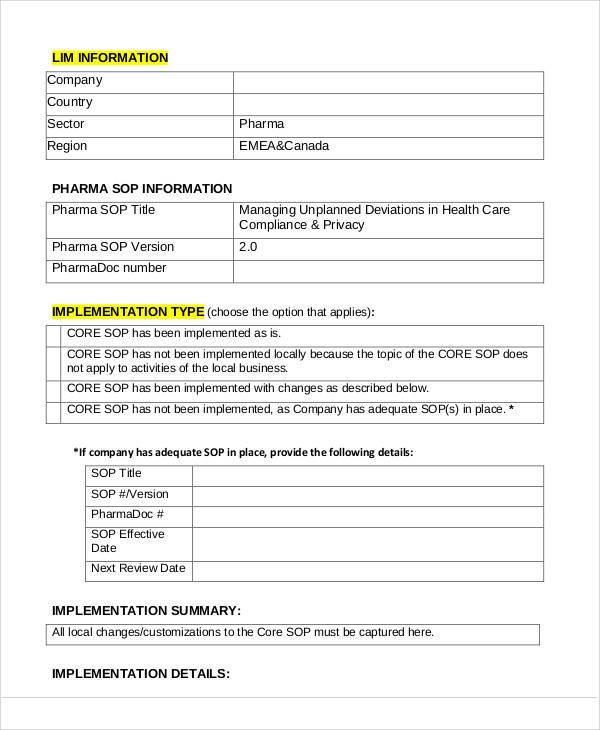 33+ SOP Templates in PDF Sample Templates