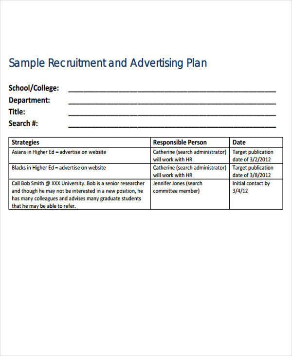6 Advertising Plan Samples  Templates Sample Templates - advertising plan